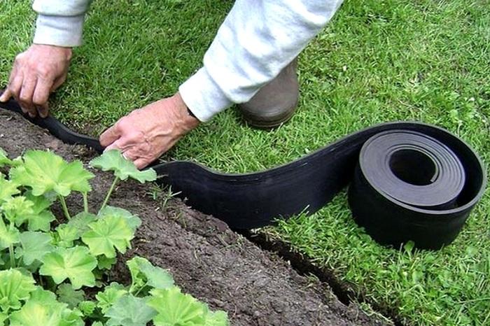 Монтаж садовой ленты