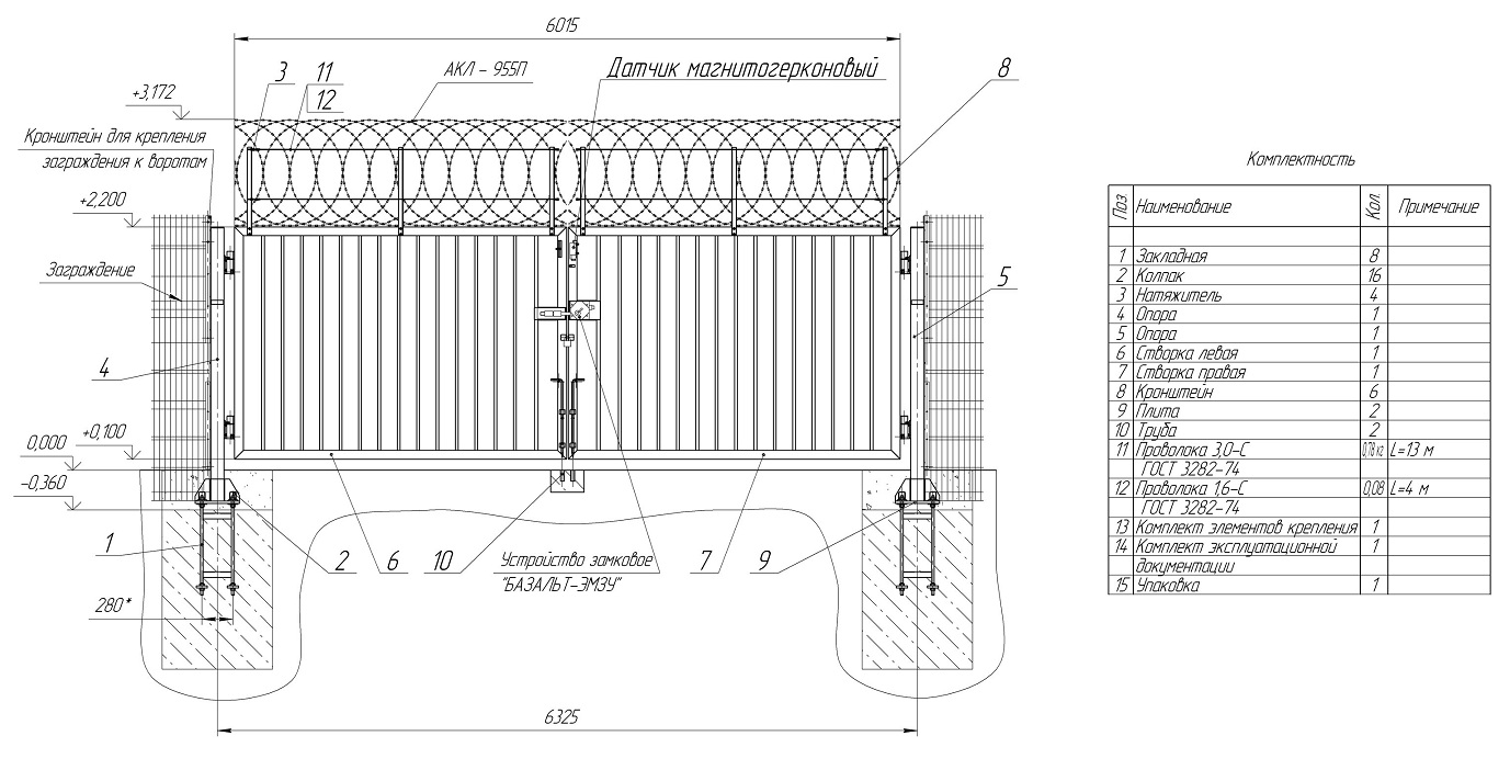 Пример чертежа распашных ворот для монтажа своими руками