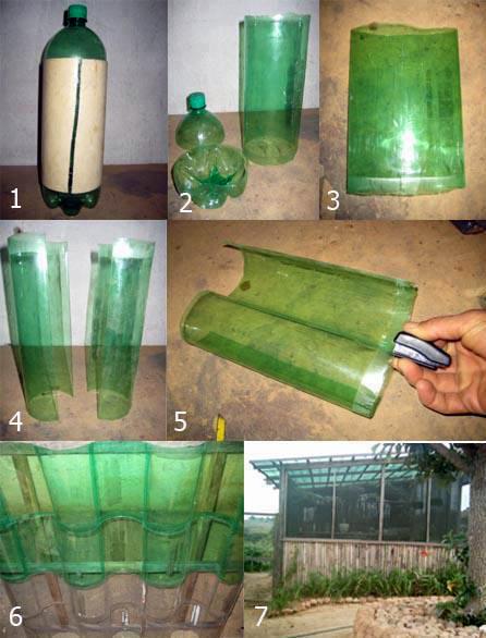 Схема монтажа забора из полотна бутылок