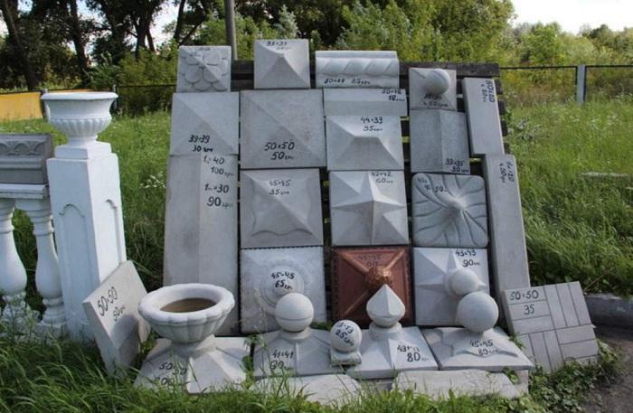 Разнообразие колпаков из бетона