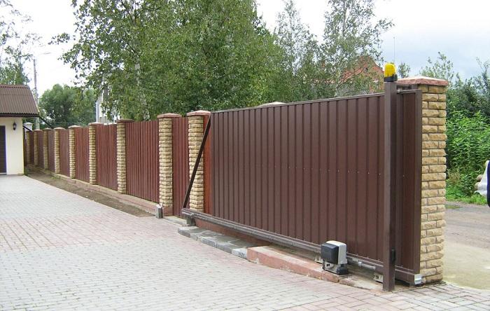 Раздвижные ворота из профлиста