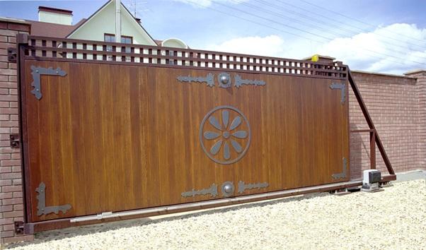 Откатные деревянные ворота своими руками