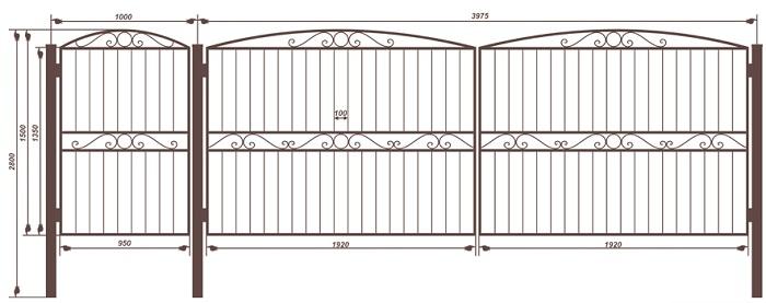 вариант чертежа ворот